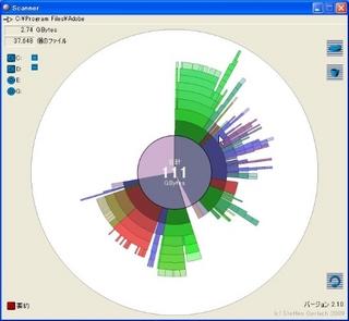 ハードディスクの使用状況を視覚的に確認できるフリーソフト「Scanner」